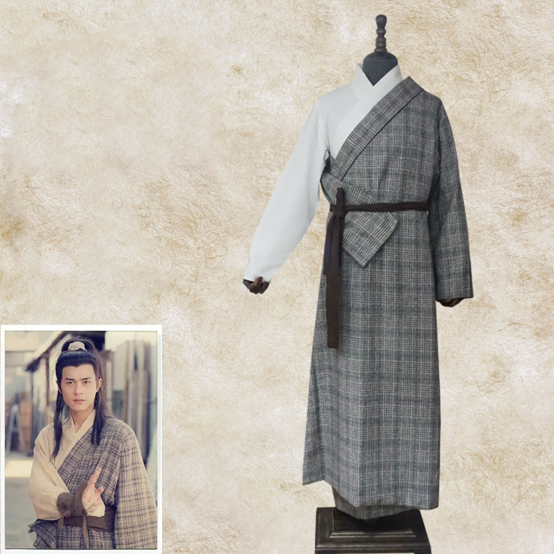 Chinese Ancient Hanfu Costume Men swordman Robe Traditional ethnic Clothes cotto