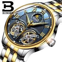 Double Tourbillon Switzerland Watches BINGER Original Brand Men's Automatic Watch Self Wind Fashion Men Mechanical Wristwatch