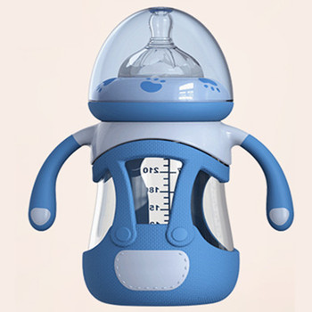 240ML Glass Baby Bottle Silicone Fully Automatic Feeding and Care  Baby Feeding Bottle  Newborn Baby Bottles health raising pot is fully automatic and thickened glass