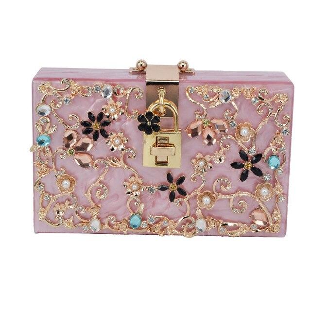 Fashion Italy brand diamond relief Acrylic Ballot lock luxury handbag evening bag clutch for party purse clutch bag SA45