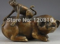 Chinese Copper Vintage Hand Hammer Pig Monkey Statue Collection