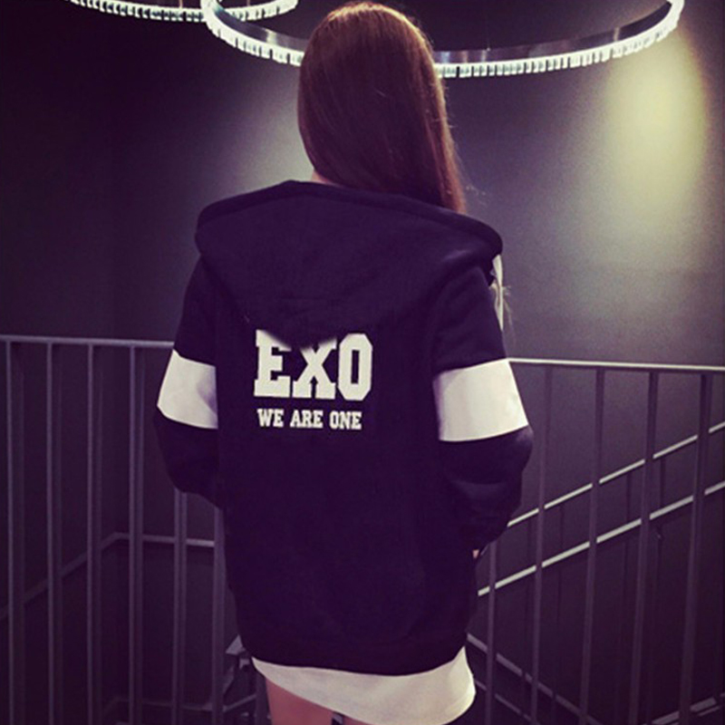 Women Black Printed Sweatshirts New Autumn Winter Women's Casual Fleece Inside Zipper EXO Kawaii Fans Thickening Hooded Hoodies
