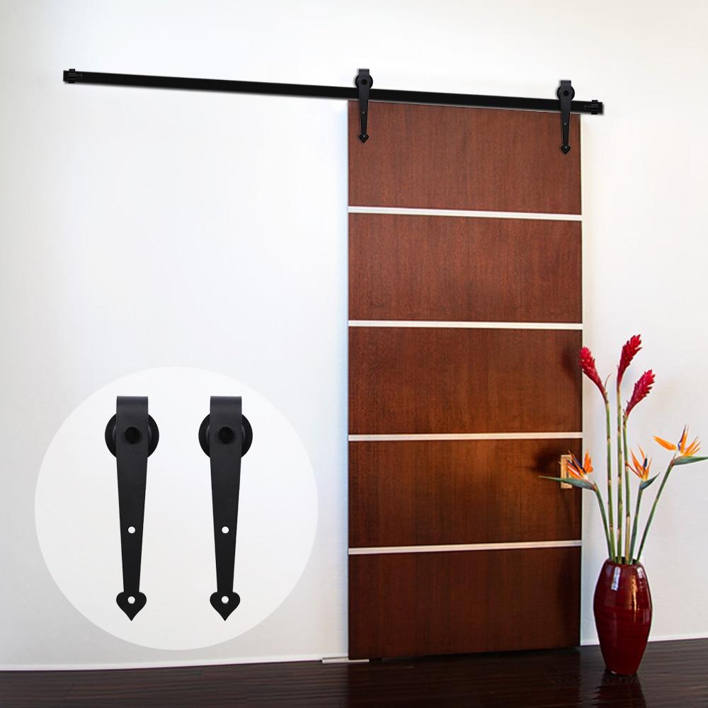 LWZH 10FT/11FT/12FT/12.6FT DIY Sliding Wood Barn Door Carton Steel Hardware Kit Black Heart Shaped Hangers for Single Door
