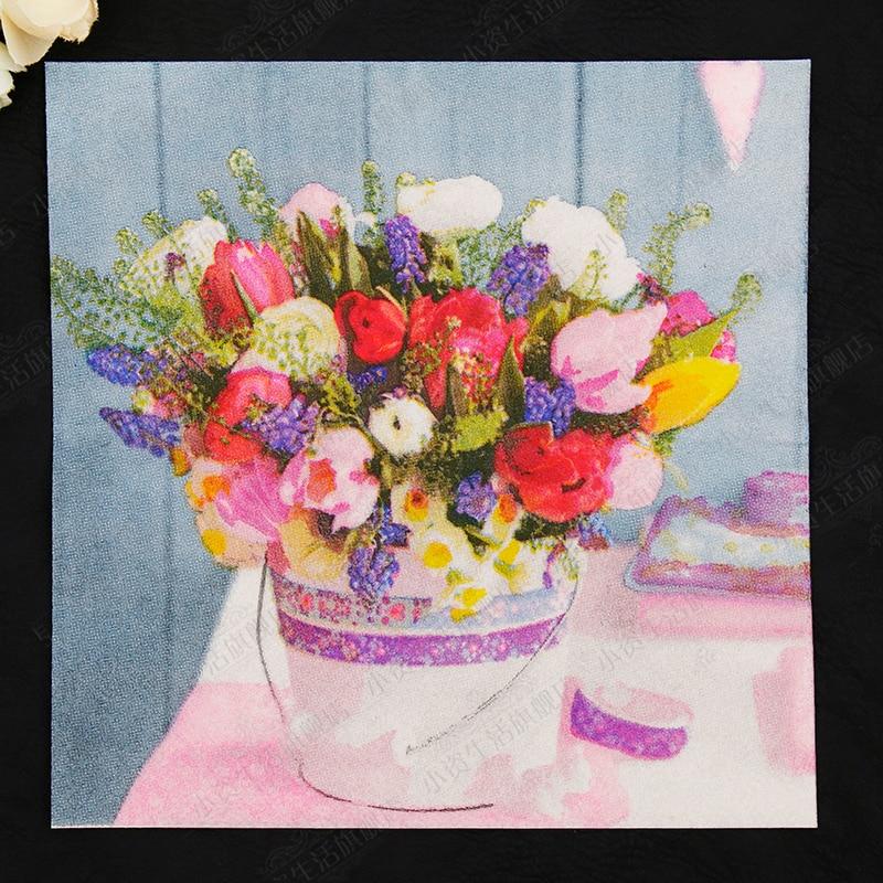 Fresh Design Flowers Vase Painting Paper Napkins Cafe & Party Tissue Napkins Decoupage Decoration Paper 33cm*33cm 20pcs/pack/lot