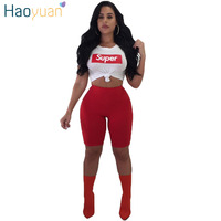 HAOYUAN Letter Print Sexy Two Piece Set 2018 Short Sleeve Tops And Shorts Summer Outfits Sweat