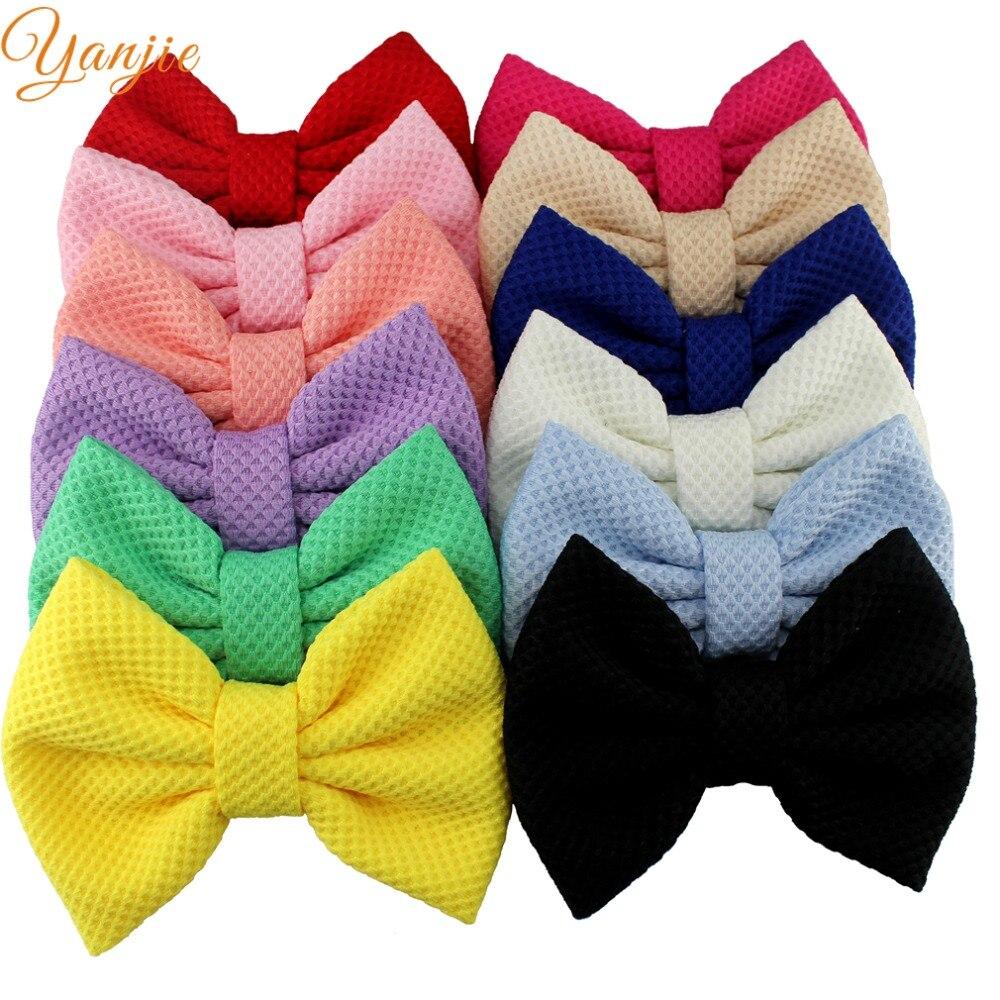"12pcs/lot 2019 Hot-sale Boutique 5"" Cotton Hair Bows Kids Girl DIY Hair Accessories For Kids Headwear Hair Clip Barrette"