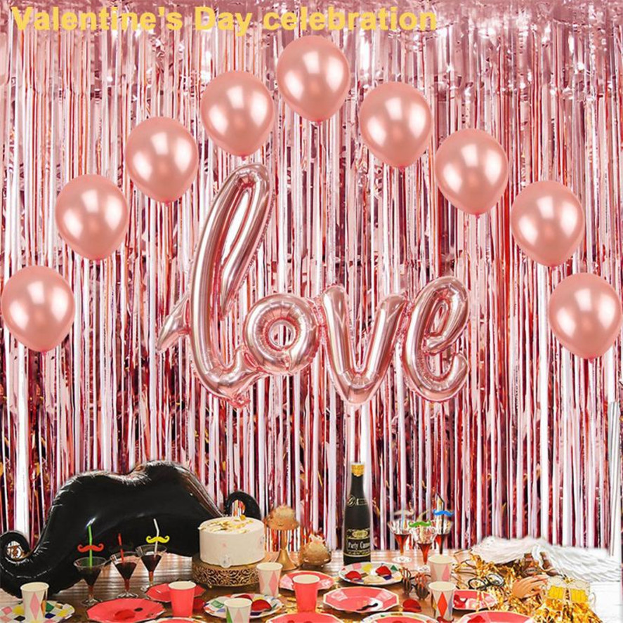 New Birthday Decor Curtains 2Pcs Foil Backdrop Tinsel Wedding Party Stage Rose Gold 35