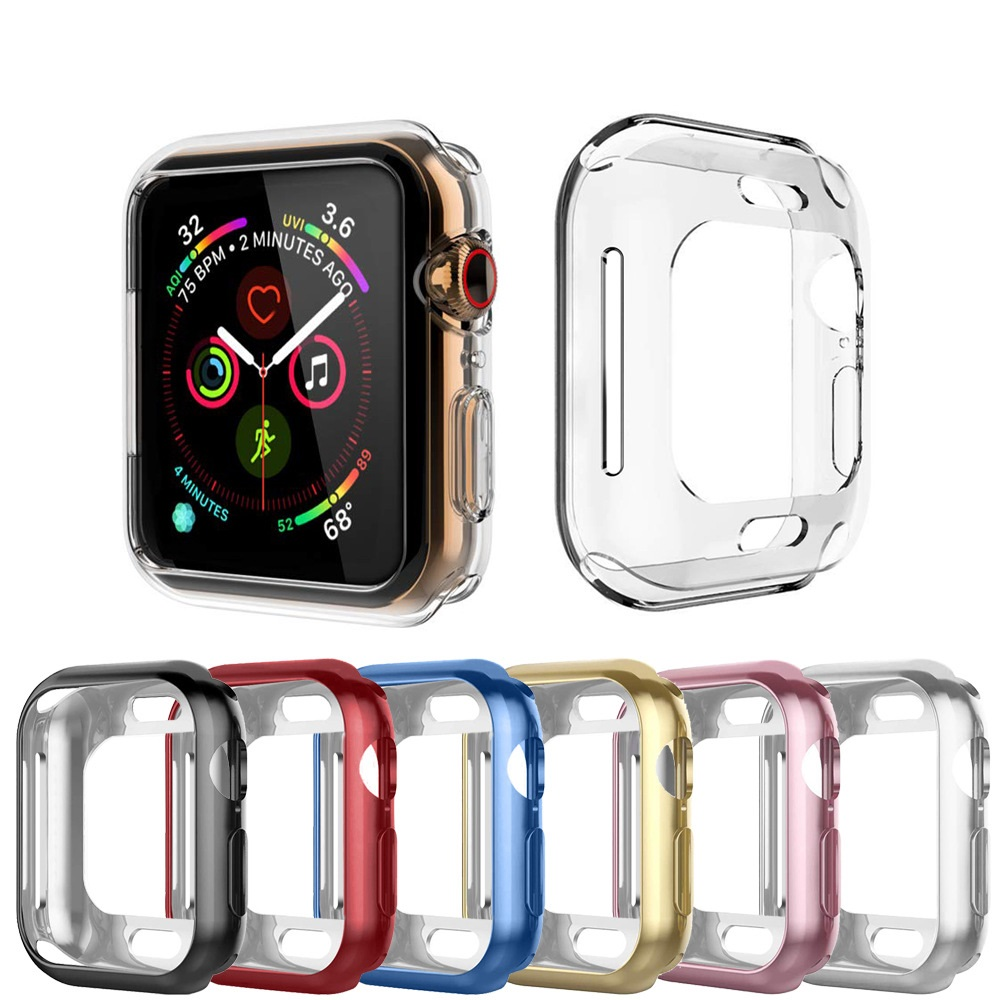 For Apple Watch 4 Case Cover Clear TPU Screen Protector Full Cover For iWatch 4 44MM 40MMFor Apple Watch 4 Case Cover Clear TPU Screen Protector Full Cover For iWatch 4 44MM 40MM