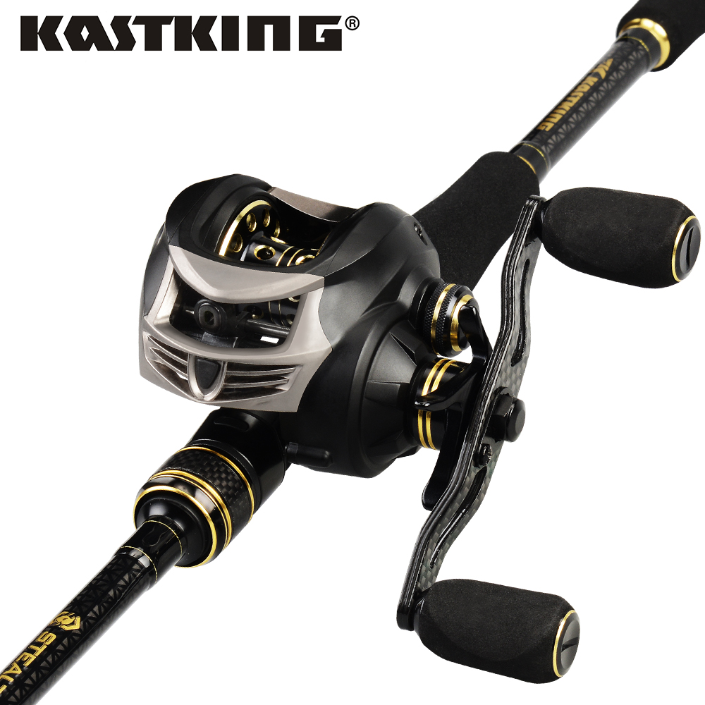 KastKing Stealth Baitcasting Fishing Reel Carbon Fishing Rod Combo Casting Fishing Rod 1.93m 2.13m ML, M, MH Power for Bass Pike