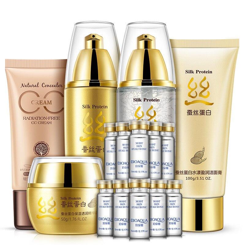 BIOAQUA Silk Protein Moisturizing & Nourishing Set Skin Care Anti-aging Cleanser, Toner, Lotion, Essence, Cream, CC Cream chanel 5ml cc cc cream