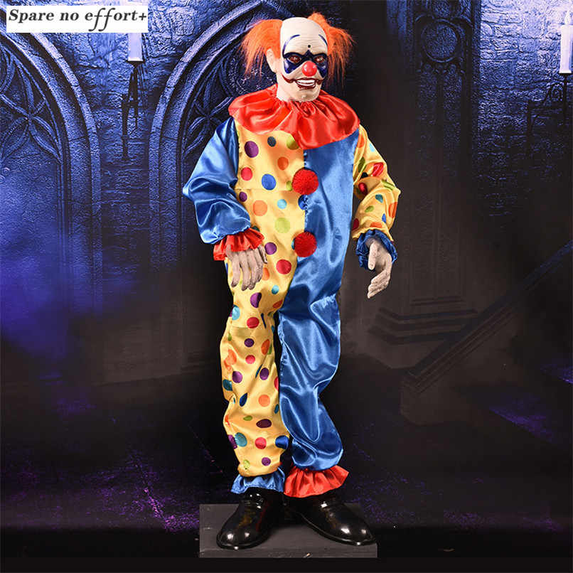 Halloween Party Electric Clown Toys Big Size Standing Clown Glowing Scare Voice Dolls for Prank Costume Party Spooky Ghost Decor