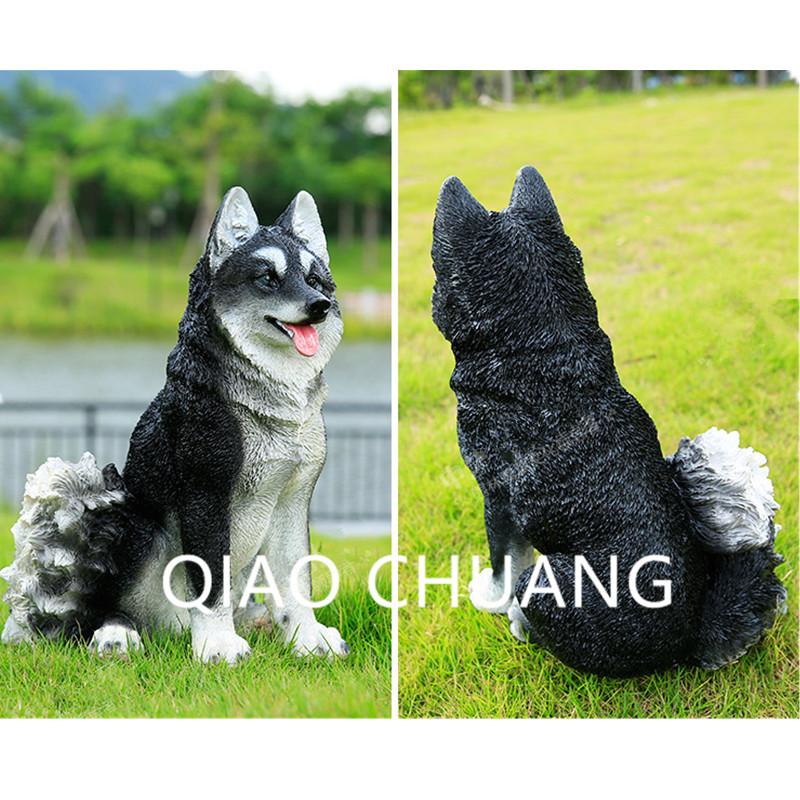 Creative Colophony Crafts Simulation Animal Sled Dog Siberian Husky Sculpture Model Garden Design Decoration G1047