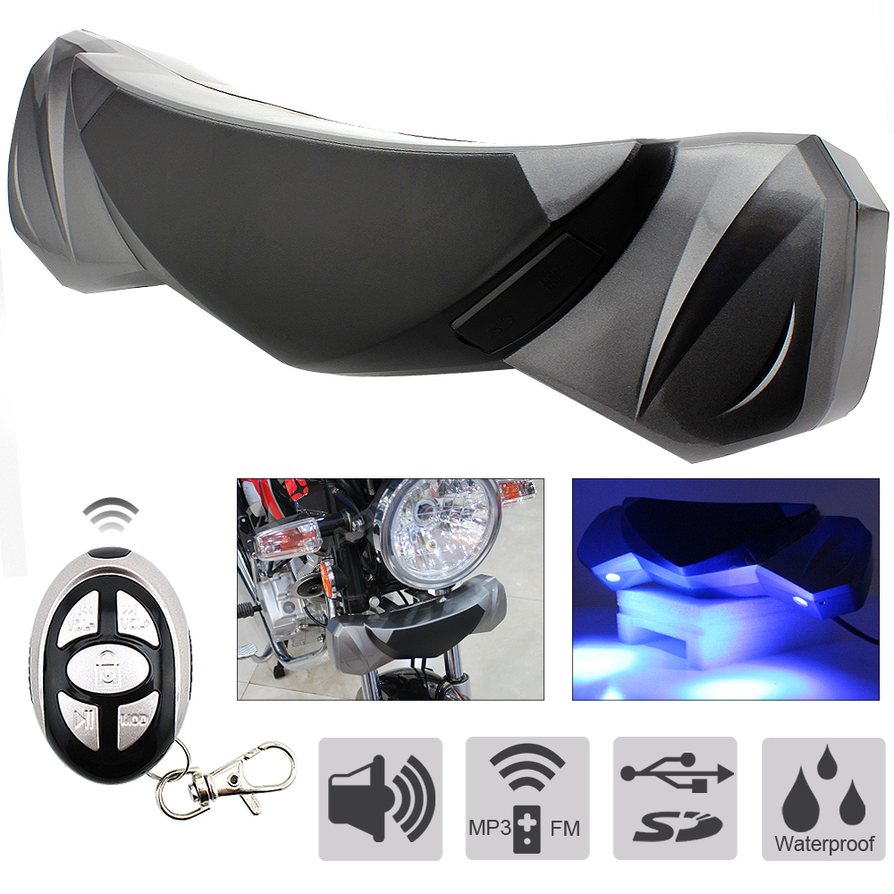 Motorcycle MP3 Audio Subwoofer Speaker Waterproof Anti-theft  Alarm Sound System MP3 FM Radio Player Stereo Speakers Music