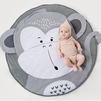 Baby Infant Play Mats Kids monkey Crawling Blanket Carpet Round Floor Rug 90CM Baby Bedding Cotton Game Pad Children Room Decor ins thick round baby blanket play game mats pom pom crawling rug children toy mat carpet kids room decor photography props 90cm