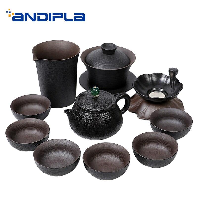 Vintage Teaware Set poterie noire violet argile Teacups théière Gaiwan Fair tasse thé crépine Drinkware thé cérémonie fournitures décor