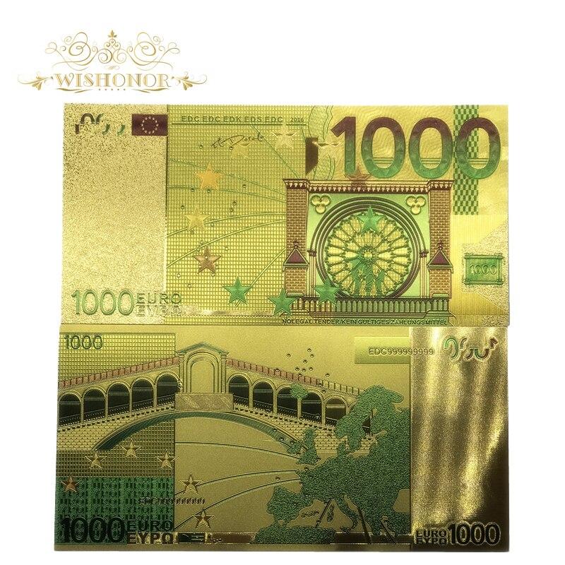 Wishonor, 10 unids/lote, billetes de Euro de colores, billetes de oro de 1000 EUR en papel falso chapado en oro de 24 K, dinero para colección