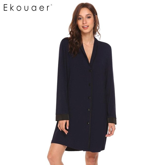 39cbe90135 Ekouaer Womens Classic Long Sleeve Pajamas Satin Patchwork Nightgown  Sleepwear Button-down Sleep Shirt Dress Female Home Clothes