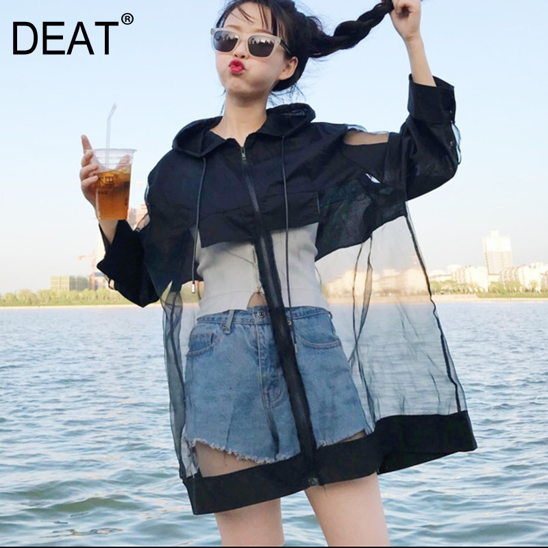 [DEAT] 2020 Spring Summer New Pattern Cardiagn Hooded Patchwork Mesh Hem Three Quarter Sleeve Thin Ladies Fashion Coat BA420