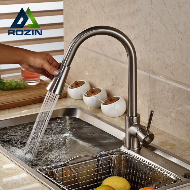 ФОТО Deck Mount Single Handle Kitchen Mixer Taps Brushed Nickel Rotation Hot and Cold Water Kitchen Sink Faucet