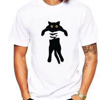 Newest Fashion Cat in hands Men T-Shirt Hipster Black Cat Printed Tops Short Sleeve Hipster Customized Tee Cool T Shirts Men(China)