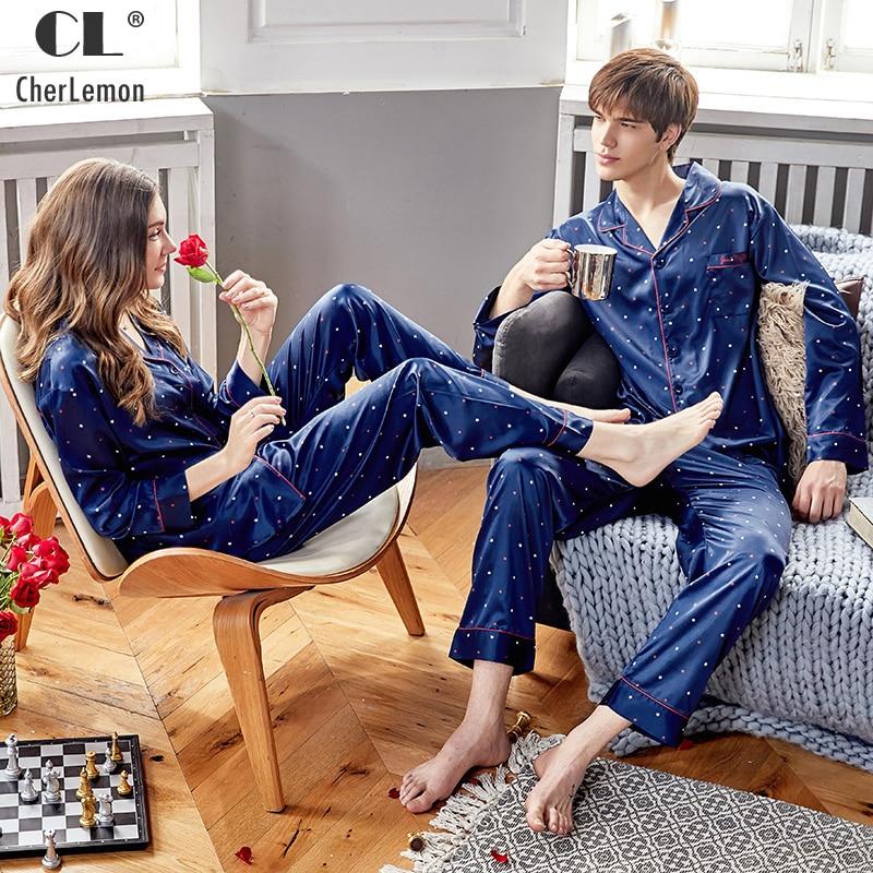 Cherlemon Sleepwear Couples Pajama-Set Satin Silk Long-Seeved Mens Blue New For Spring-Polka-Dot