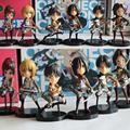 Ataque on Titan Mikasa Ackerman Eren Rivaille Armin Arlert Sasha Blaus Hanji Zoe acción PVC juguetes figuras 7 cm 6 unids/set KT1339
