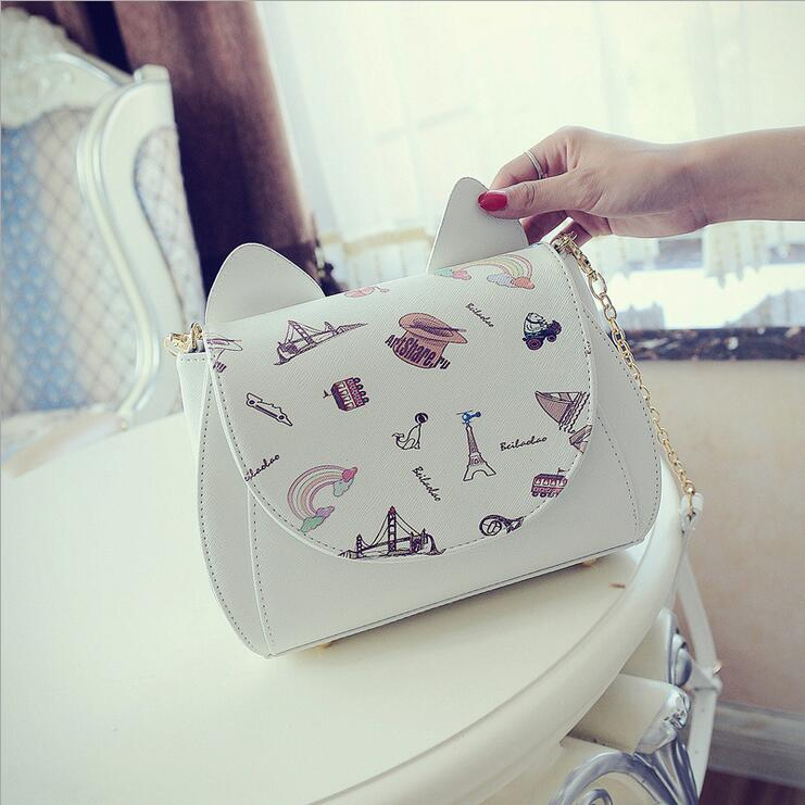 Kawaii  Sailor Moon Ladies Shoulder bag  Luna Cat Shape Chain Shoulder Bag PU Leather Women Messenger Crossbody Small Bag 2017 new summer limited sailor moon chain shoulder bag ladies lock pu leather handbag women messenger crossbody small bag