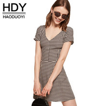 HDY Haoduoyi Fashion Women Mini Dress Preppy Look V Neck Plaid Checks V-neck A Line Flare Dress Vestidos Female Summer Dresses(China)