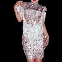 Полный со стразами и кисточками; платье для выпускного вечера день рождения, празднование наряд сверкающие кристаллы большой платье стретч
