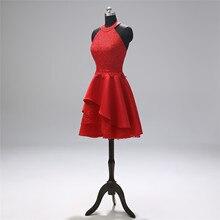 Коктейльное платье красное короткое вечернее платье пикантный кружевной шнурок Вечерние платья