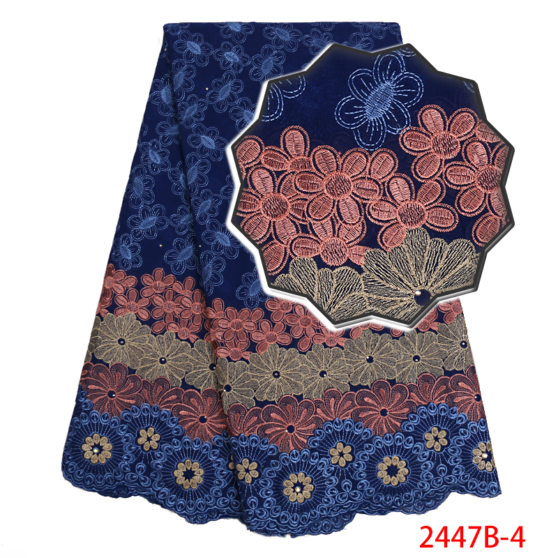 High Quality Cotton Lace Fabric,Swiss Voile Lace With Stones 2019,latest African Embroidered Lace Fabric With Stones KS2447B-4