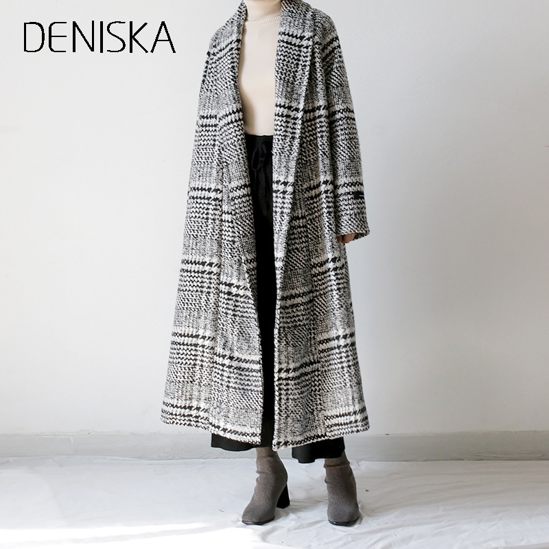 DENISKA Houndstooth Wool Coat Women 2018 Elegant Winter Jacket Women Long Parka Casaco Feminino Women Woolen Coat Manteau Femme womens winter jackets and coats winter jacket women coat manteau femme thickened long casaco feminino inverno abrigos 001