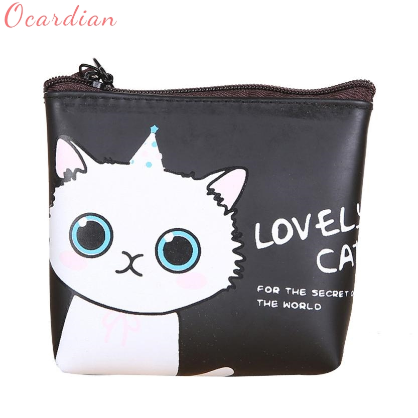 купить 2017 Women Girls Wallet Cute Cat Fashion Coin Purse Wallet Bag Change Pouch Key Holder Drop shipping Billetera Carteira17Apr28 недорого