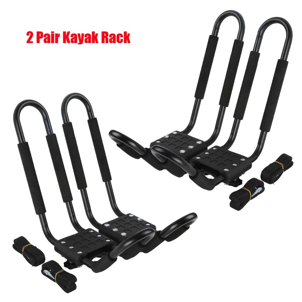 2 Pairs Kayak Carrier Boat Ski Surf Snowboard Roof Mount Car Cross J-Bar Rack partol car roof top cross bars roof rack cross bars rail carrier 150lbs aircraft aluminum for mazda cx 7 2007 2008 2009 2010 12