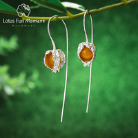 Lotus Fun Moment Real 925 Sterling Silver Natural Stone Fashion Jewelry Creative Physalis Fruits Dangle Earrings for Women