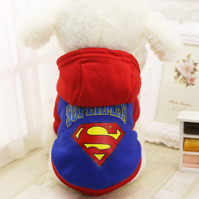 abe92c2f8b7 US $3.79 5% OFF|Pet Cat Dog Superhero Costume Superman Puppy Pet Hoodie  Coat Small Dog Clothes Blue Black Size XS/S/M/L/XL/XXL-in Dog Hoodies from  ...