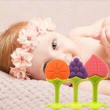 Bebê de Frutas e Vegetais Forma Vara Mastiga Dental escova de Dentes Treinamento Criança Anel de Dentição Silicone Bebe Infantil