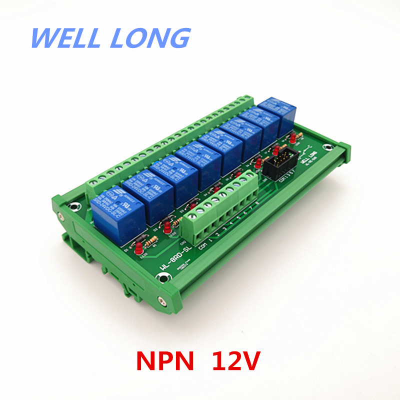 DIN Rail Mount 8 Channel NPN Type 12V 10A Power Relay Interface Module,SONGLE SRD 12VDC SL C Relay.