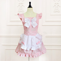 Princess sweet lolita apron South Korea style Japanese loli big bow lace maid dress palace sweet apron for cooking baking WQ01