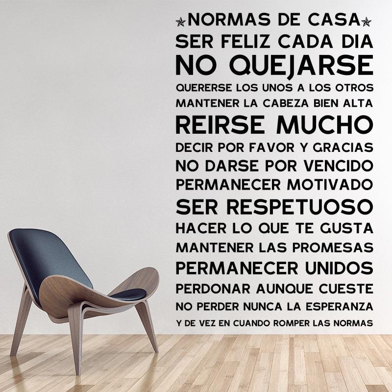 Versioni Spanjoll NORMAS DE CASA Rregullat e Shtëpisë Sticker Wall (Dekor i shtëpisë) Dekoratë Familjare Shtëpi Dekorimi Vinyl Wall Decals dhomë