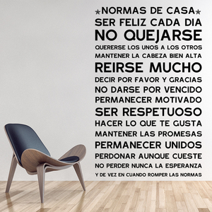 Spanish Version NORMAS DE CASA House Rules Wall Sticker Home decor Family Quote house Decoration Vinyl Wall Decals kids room