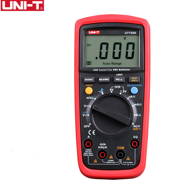 UNI-T UT139A True RMS Digital Multimeter Auto Range AC/DC Amp/<font><b>Volts</b></font> Ohm Tester with Data Hold, NCV,and <font><b>Battery</b></font> Test image