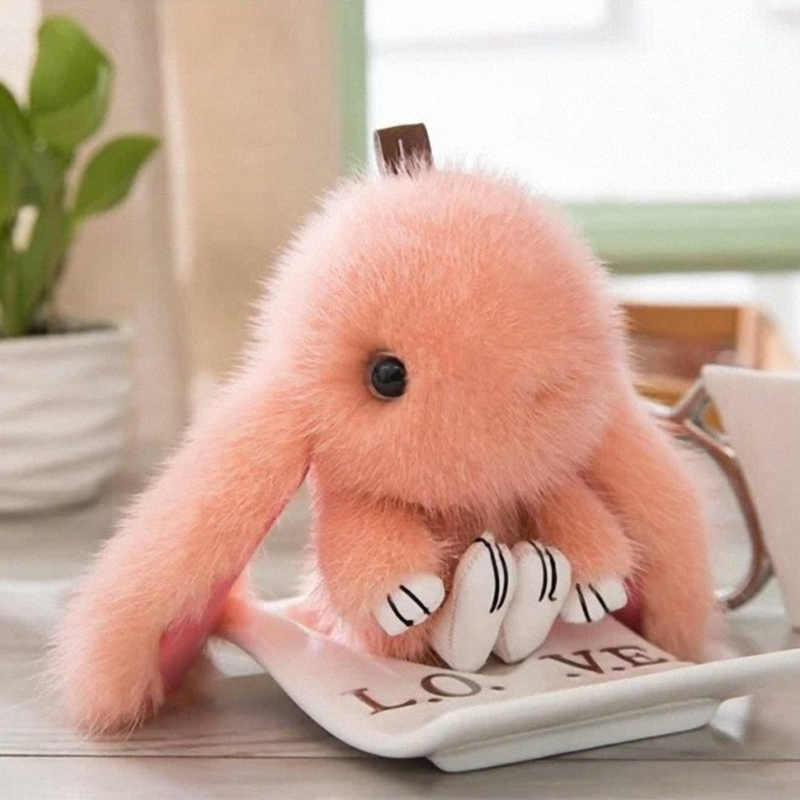 15CM 100% Real Mink Fur Cute Bunny Rabbit Keychain Pendant Bag Car Charm Cell Phone Key Rings Fluffy Doll Keychain K058-orange