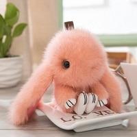 15CM 100% Real Mink Fur Cute Bunny Rabbit Keychain Pendant Bag Car Charm Cell Phone Key Rings Fluffy Doll Keychain K058 orange