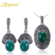 Ajojewel Black And Green Jewelry Sets For Women 2016 Designer CZ Resin Stone Earrings Necklace Set