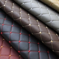 1Meter furniture PU leather perforated embroidered plaid fabric car interior roof fabric plaid car seat cushion fabric 0.3cm