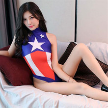 new printing captain Post zipper High fork Game Play the role sexy lingerie bodystocking catsuit body sexy costumes open crotch new printing comic xiao qiao game role play tighten body sexy lingerie bodystocking sexy costumes catsuit body suit open crotch