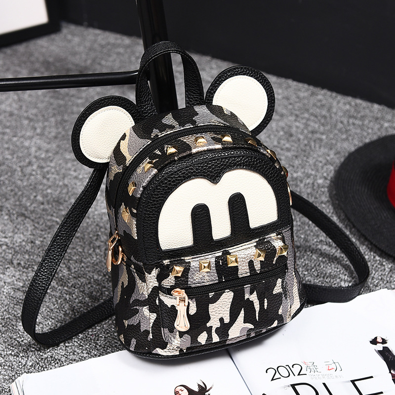 Hot Fashion Mini Mouse Bag For School For Girls PU Leather High Quality Backpack Bags For Women Backpacks With Revit Mochilas 12mm waterproof soprano concert ukulele bag case backpack 23 24 26 inch ukelele beige mini guitar accessories gig pu leather