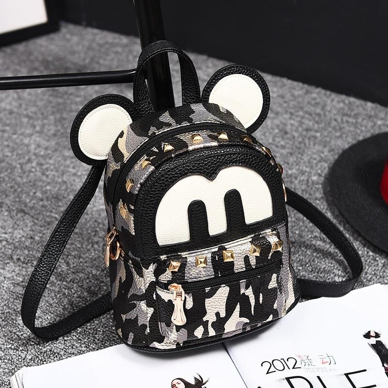 Hot Fashion Mini Mouse Bag For School For Girls PU Leather High Quality Backpack Bags For Women Backpacks With Revit Mochilas new korean women pu leather backpack mini fashion students girls school bag vintage backpack mochilas mujer rucksack designer