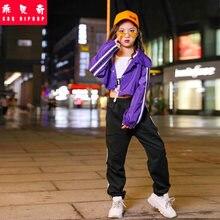 349f5f335e Coréia Crianças Meninas Dança de Rua chapéu Hip Hop Trajes das Crianças  Palco de Salão Jazz Hiphop Dança Roupas Calças Jaqueta P..